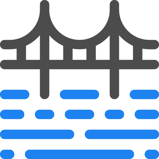 icon of bridge in water