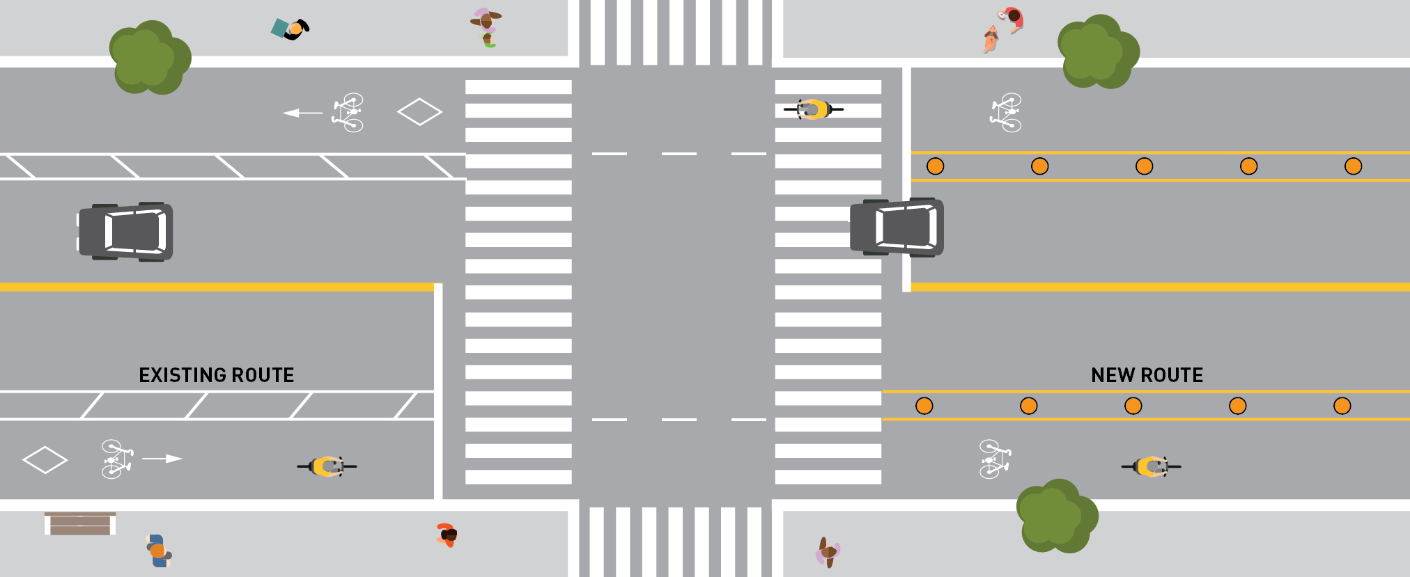 Overhead rendering of and ActiveTO bike lane. Bollards & paint separate from car traffic