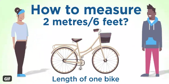 People standing at either end of a bike. How to measure 2 metres? Length of one bike.