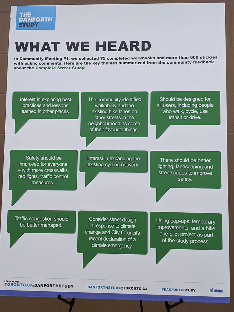 A display board with a title 'What we Heard' shows some feedback from the first community meeting.