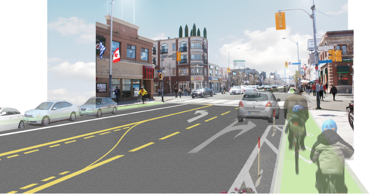 Rendering of a possible street configuration with bike lanes on Danforth Ave. Created by Perkins + Will