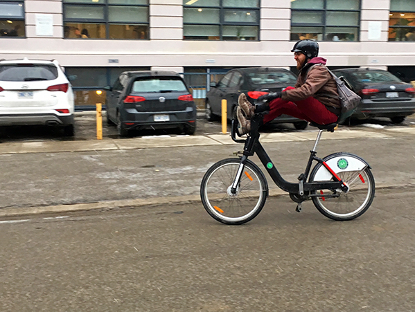Jay shows off a Bike Share trick