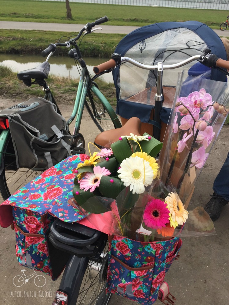 Colourful panniers loaded with flowers