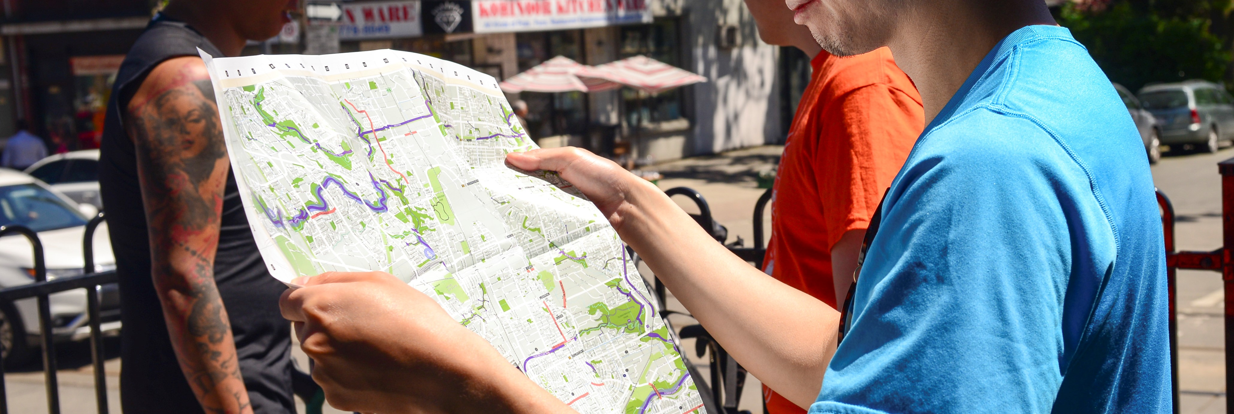 Person looking at map