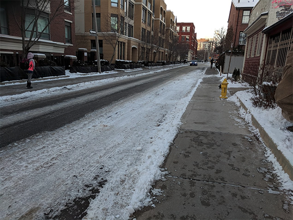 Phoebe St bike lane covered in snow