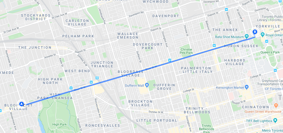 Coldest Day of the Year Ride map along Bloor