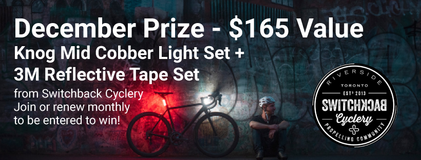 December prize $165 value. Knog Mid Cobber Light Set from Switchback Cyclery. Join or renew monthly for your chance to win