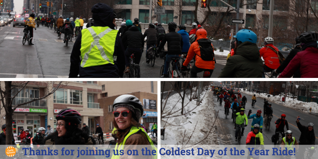 coldest day of the year ride 2019 with group riding on Bloor and Danforth