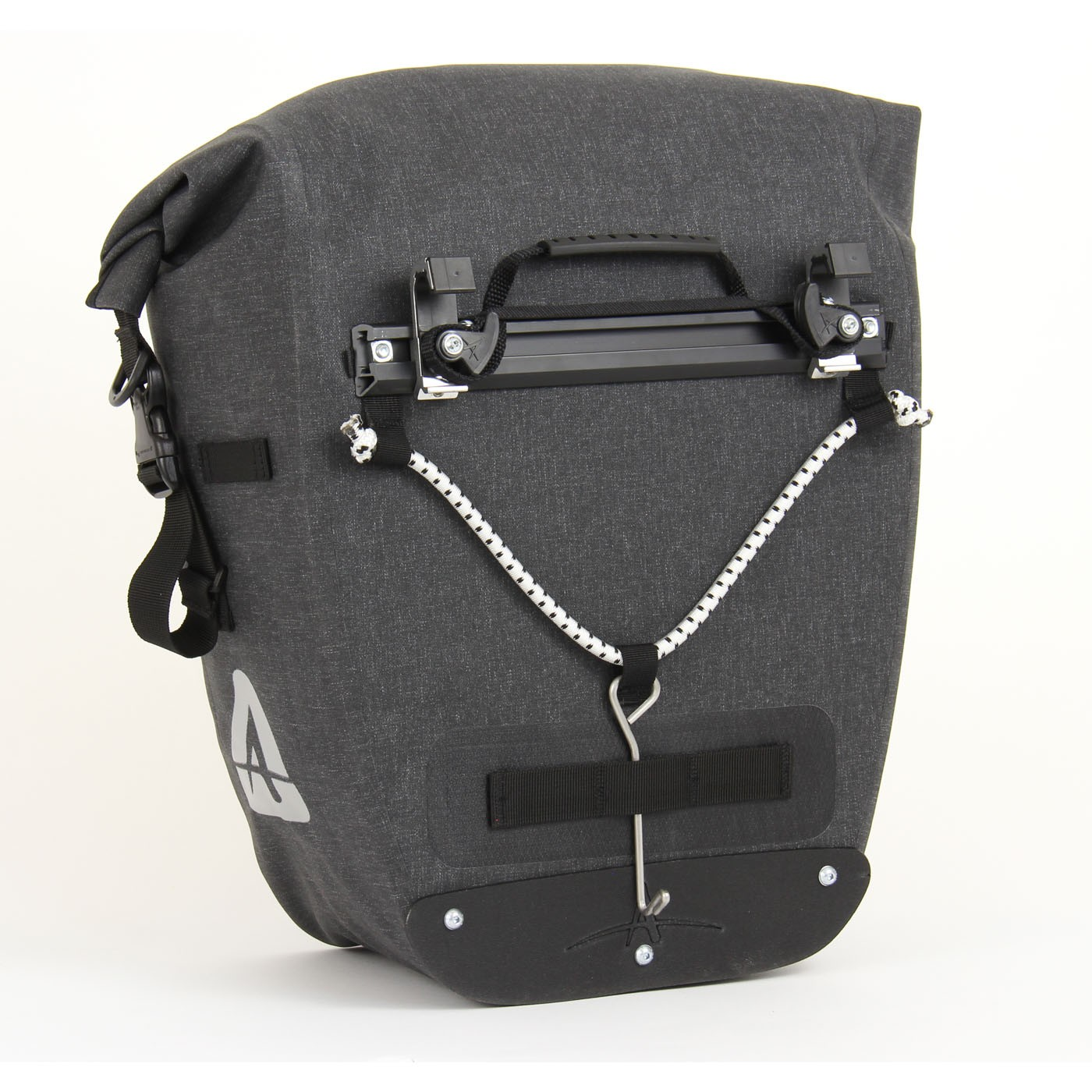 Grey pannier with a hook at the bottom on the back