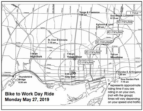 bike to work day group commute map