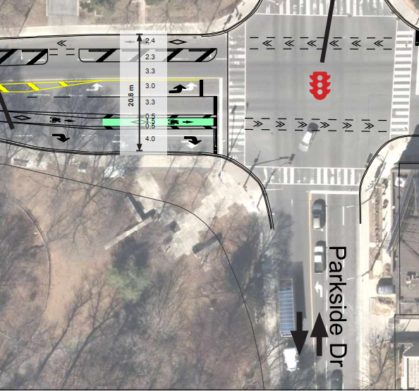 A plan diagram of the Bloor Street West and Parkside Drive intersection showing the bike lane losing its protection heading eastbound on Bloor at the intersection. Diagram is from January 2020.