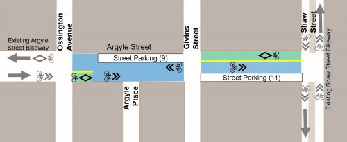 Map of Argyle Street between Ossington and Shaw