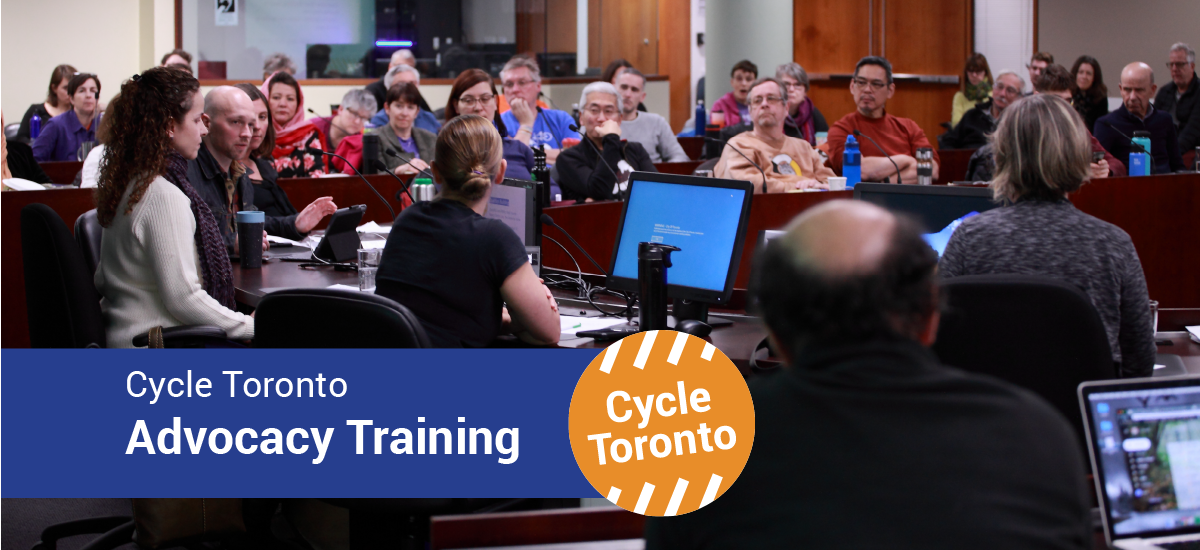 Cycle Toronto Advocacy Training. A room full of people attentively watches a discussion.