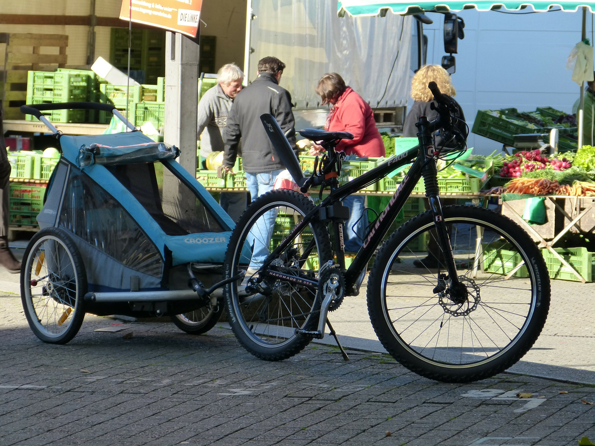 A bike with a trailer attached