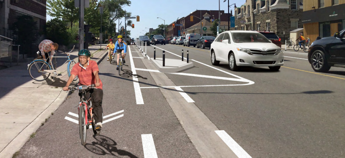 Rendering of people riding bikes peacefully in a protected bike lane
