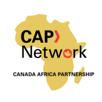 Yellow map of Africa. Text reads: CAP Network. Canada Africa Partnership.