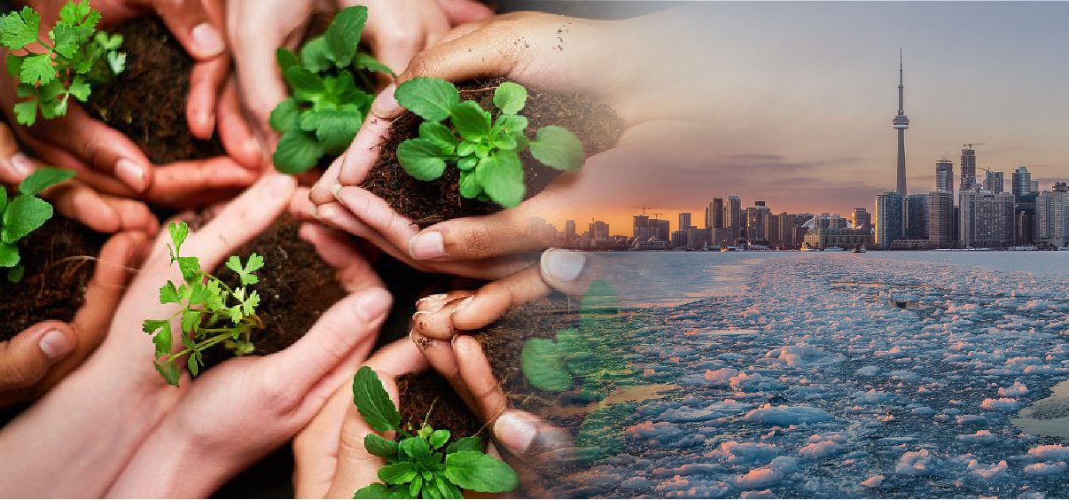 An image of many hands planting herbs fades into an image of Toronto's skyline behind ice filled waters.