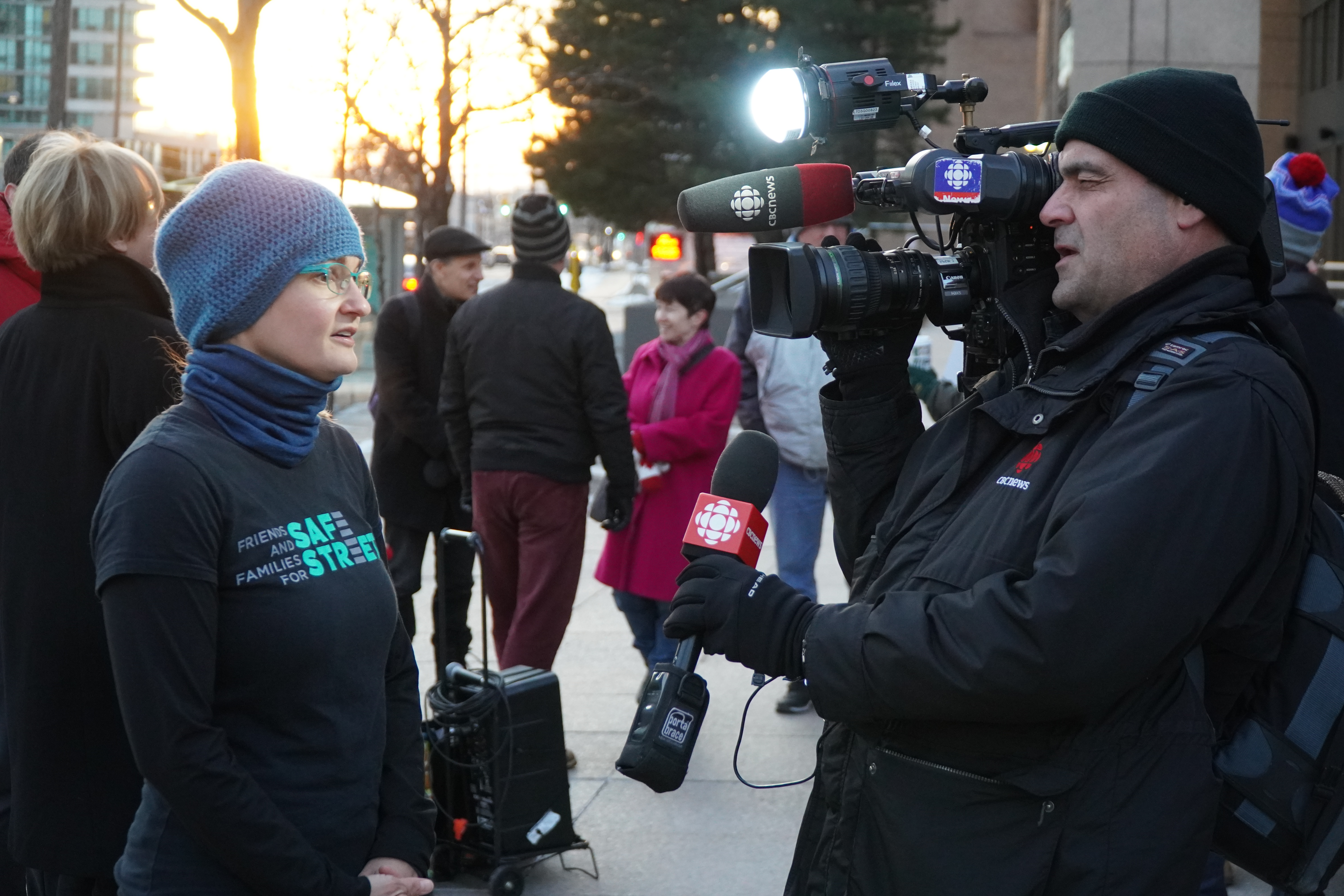 Jess Spieker talks to a reporter from CBC