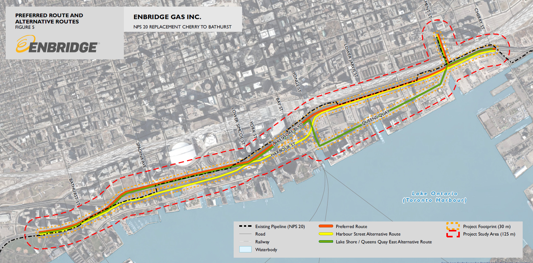 Map of Enbridge's pipeline options showing Lakeshore Blvd as the preferred route