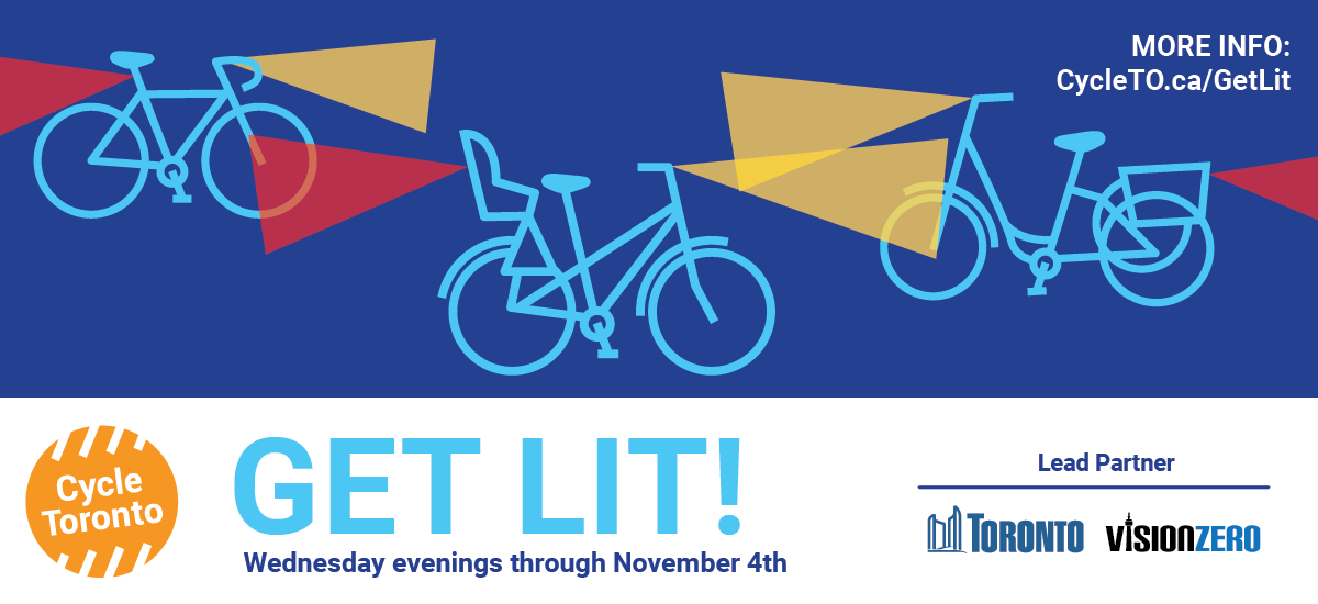 Get Lit! Icons of bikes with lights travel on a blue background.