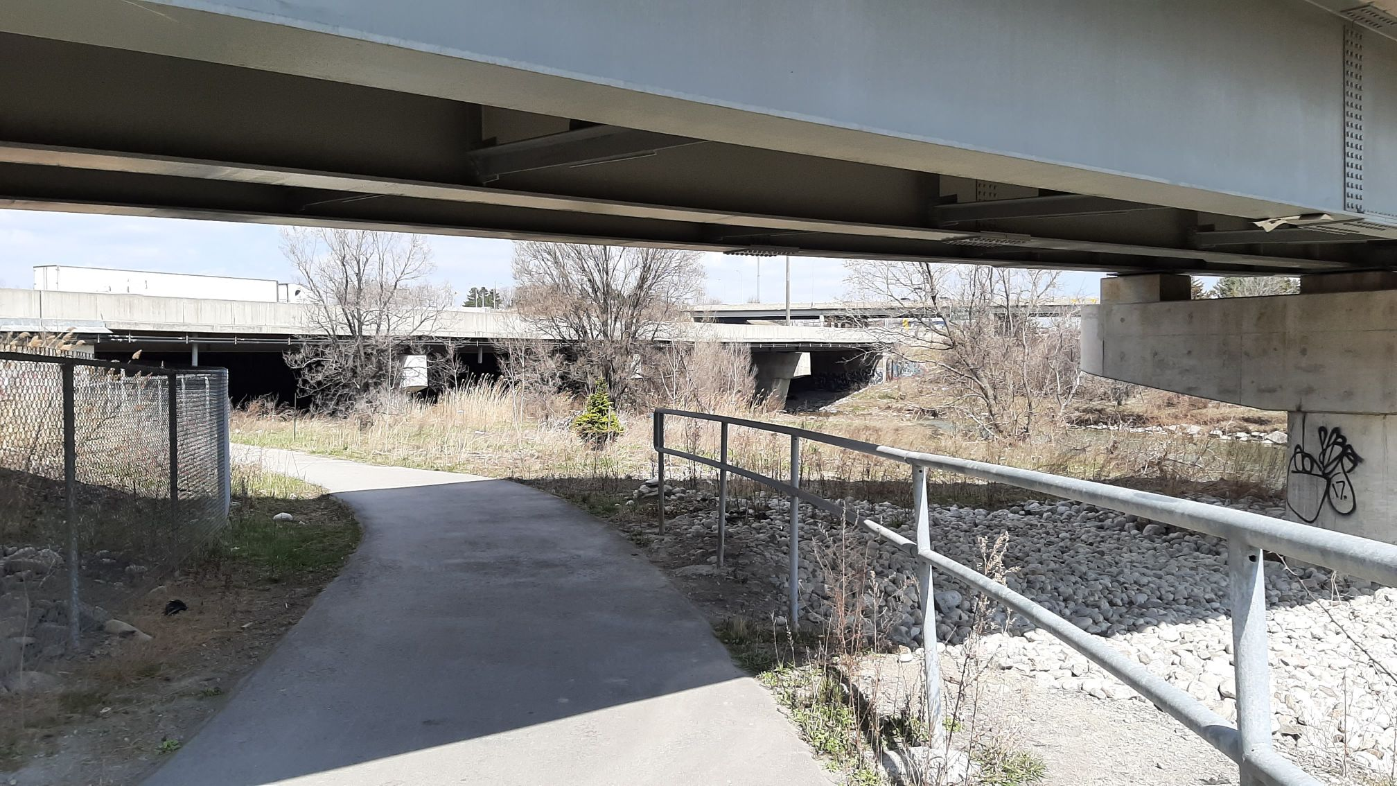 A paved trail heads underneath a massive highway