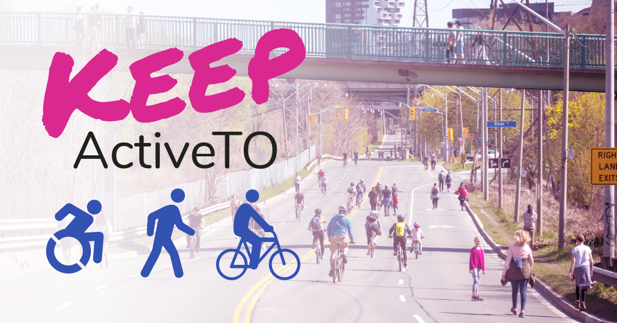Keep Active T O appears on the left. There are icons of people using wheelchairs, walking and riding bikes. The background shows people using an open street.