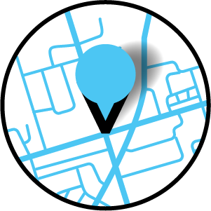 A blue map pin has been dropped on stylized blue map