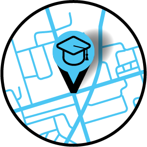 A teal and black pin icon has been dropped on a map teal map. The pin has a graduation cap icon on it.