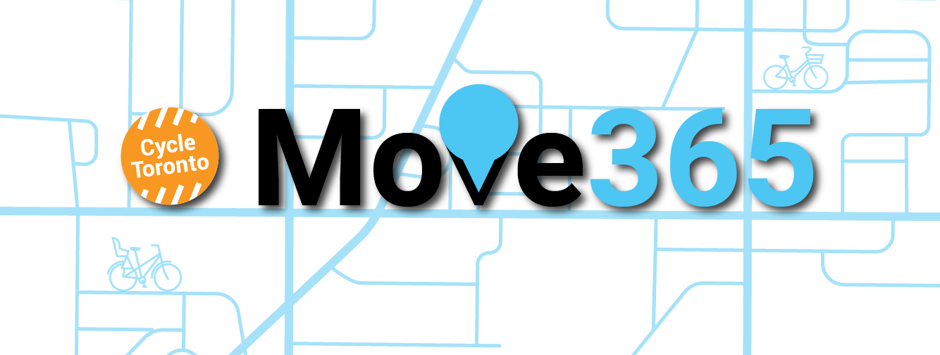 """The words Move 365 hover over a stylized light blue map. The """"V"""" in """"Move"""" resembles a pin for a map. The orange, circular Cycle Toronto logo is at the left."""