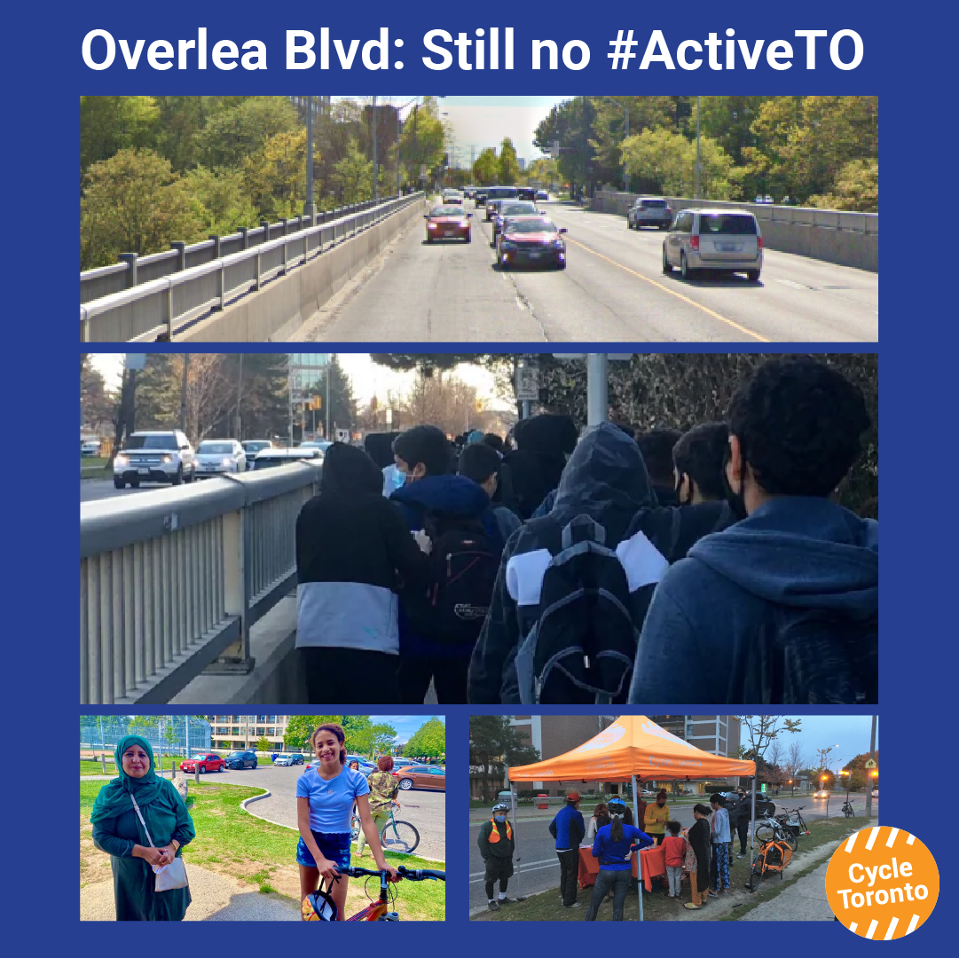 Reads: Overlea Boulevard, still no Active TO. Image of a wide bridge busy with cars. Image of dozens of students crammed onto a narrow sidewalk. Image of two women exchanging a bike with smiles. Image of an orange Cycle Toronto tent.