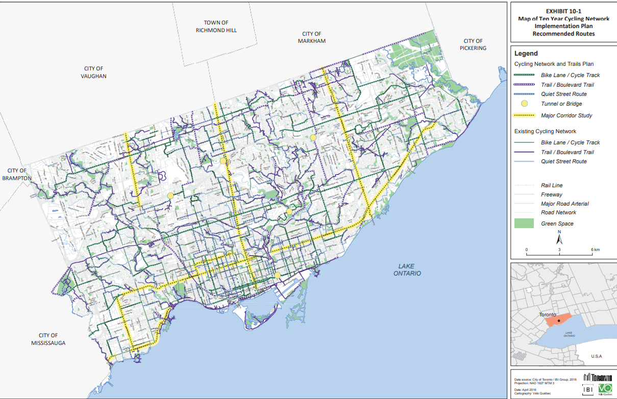 City of Toronto Cycling Network Plan showing map of Toronto with lines representing potential and existing bike infrastructure