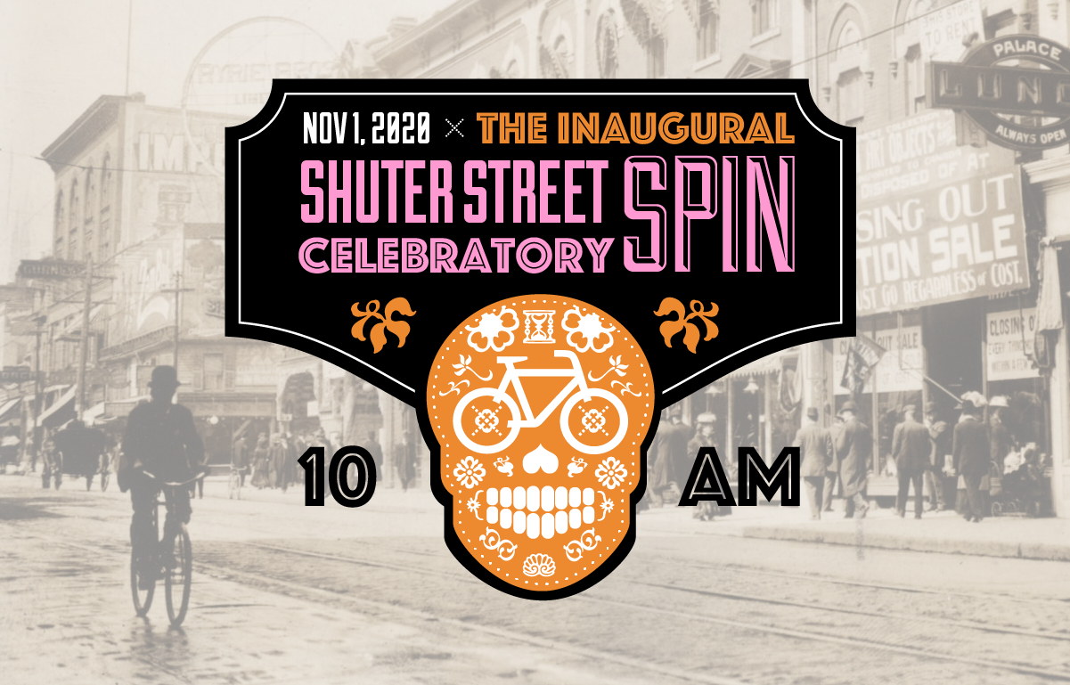A happy skeleton made out of bikes. The inaugural Shuter Street Spin