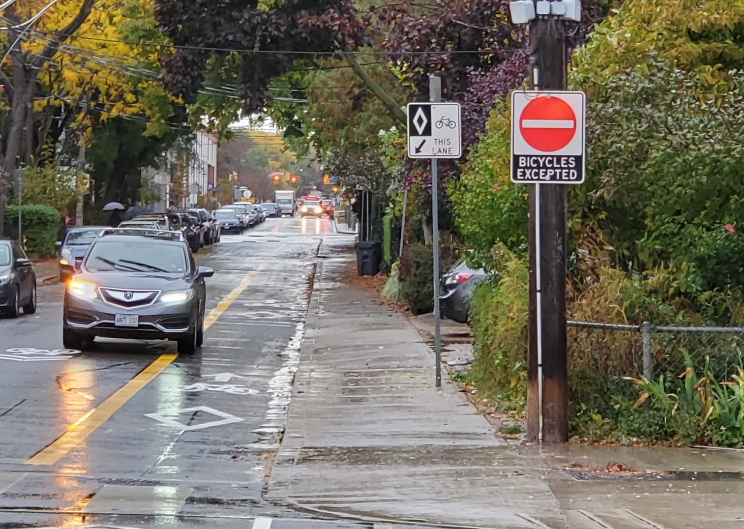 """A sign says """"Bikes this lane"""" and a yellow line separates the rest of the road from the bike lane."""