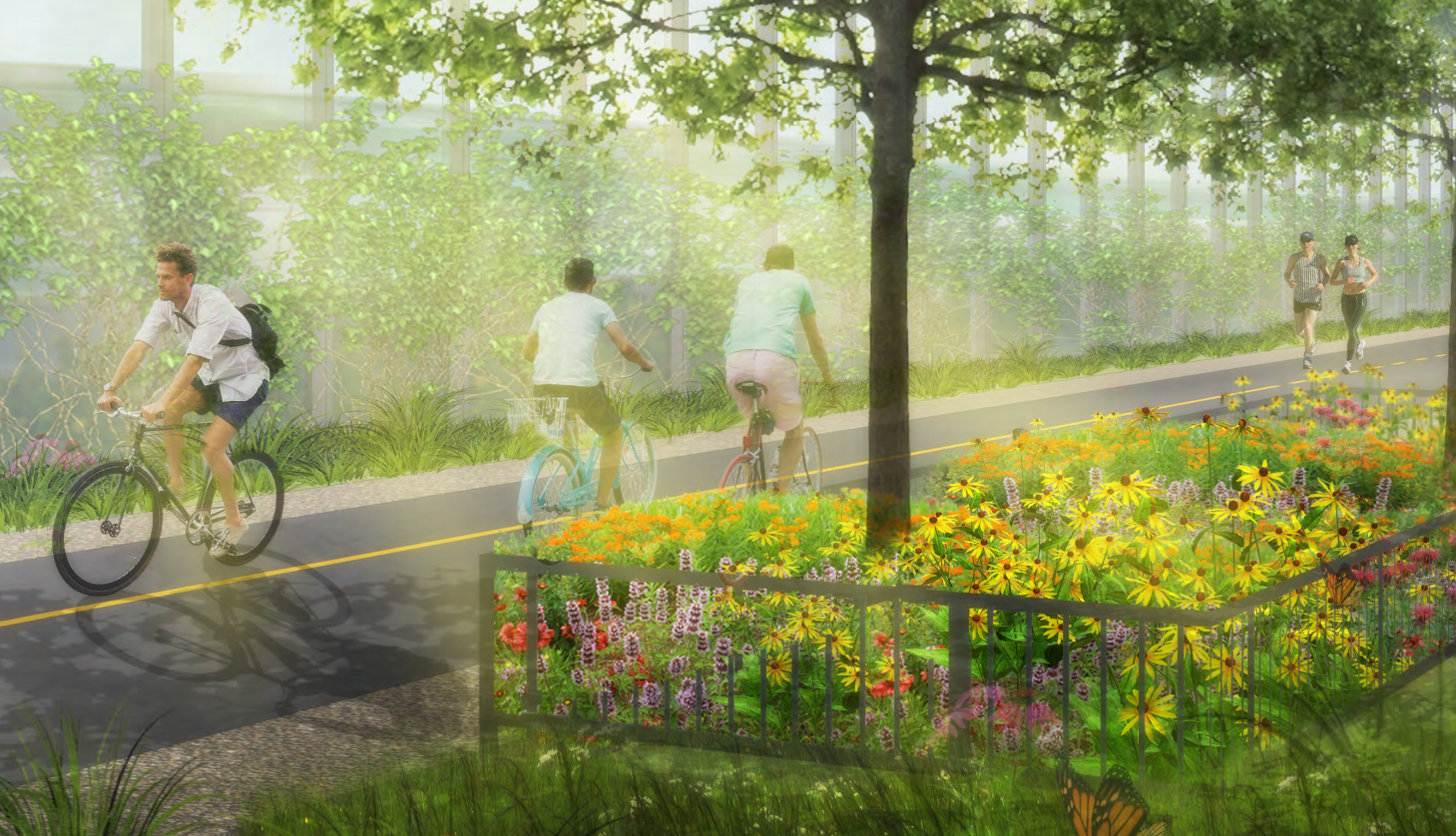 Rendering of lush green path with people biking and running.