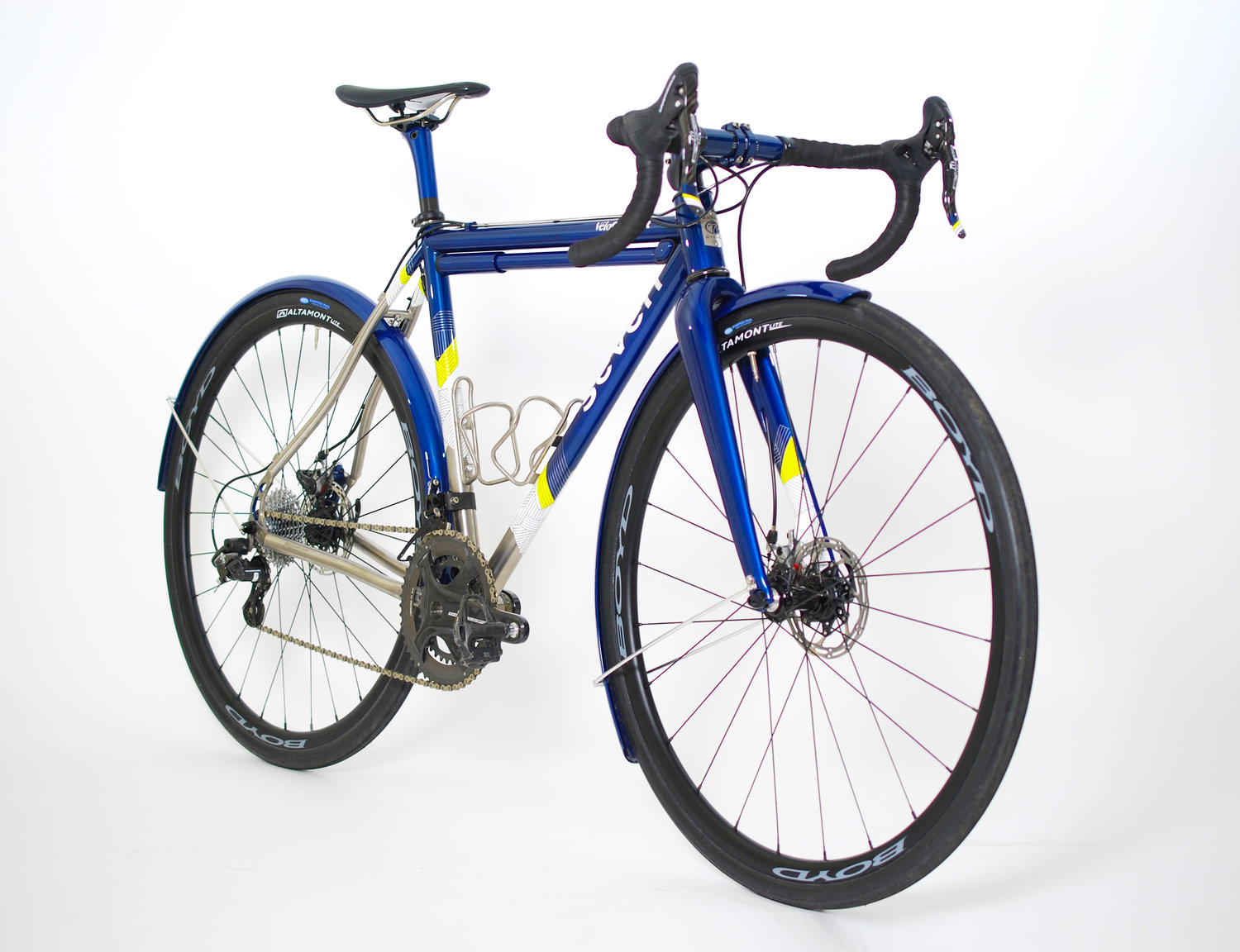 Freshly painted blue bike with yellow and white details