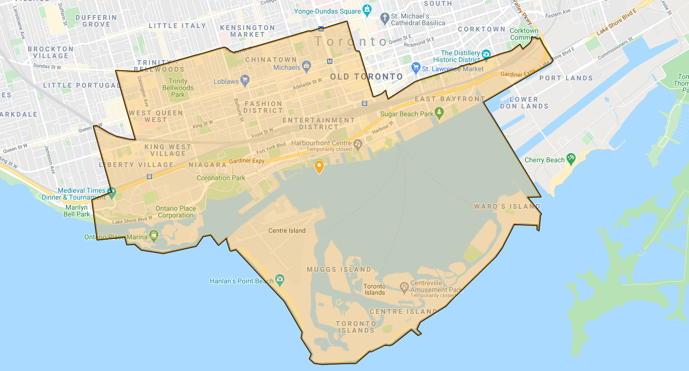 An outline of the southern portion of downtown Toronto and the Islands.