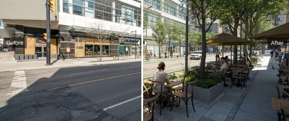 Before: Dull wide street with pot holes. After: Vibrant green street with patios, people and bike lanes.