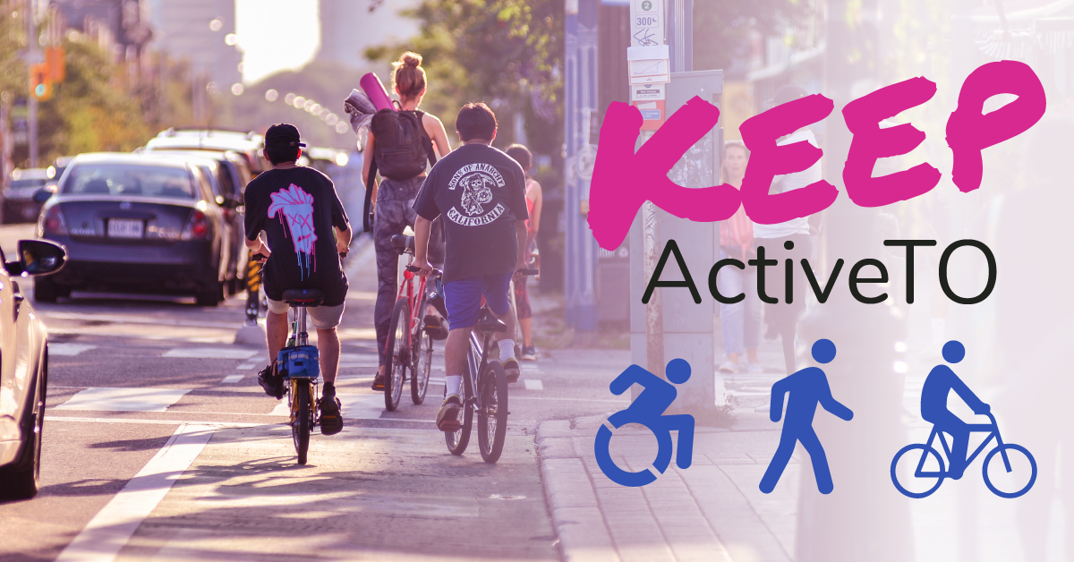 Keep Active T O appears on the right. There are icons of people using wheelchairs, walking and riding bikes. The background shows people using a bike lane.