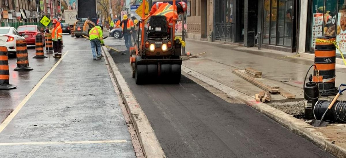 Bloor Cycle Track Paving