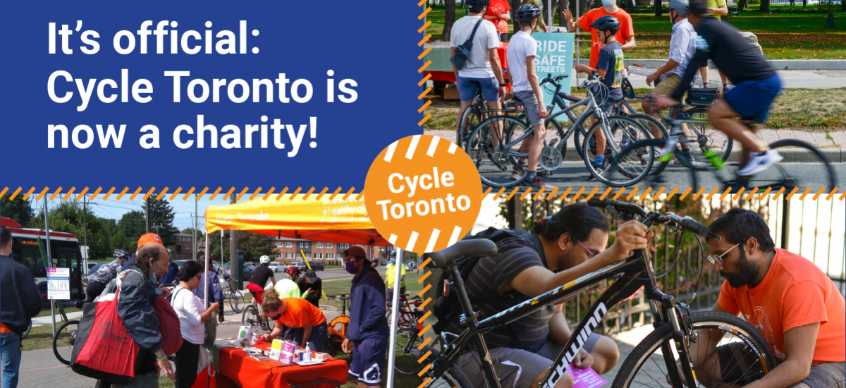 """Images of people with bikes conversing. Text reads """"It's official: Cycle Toronto is now a charity!"""""""