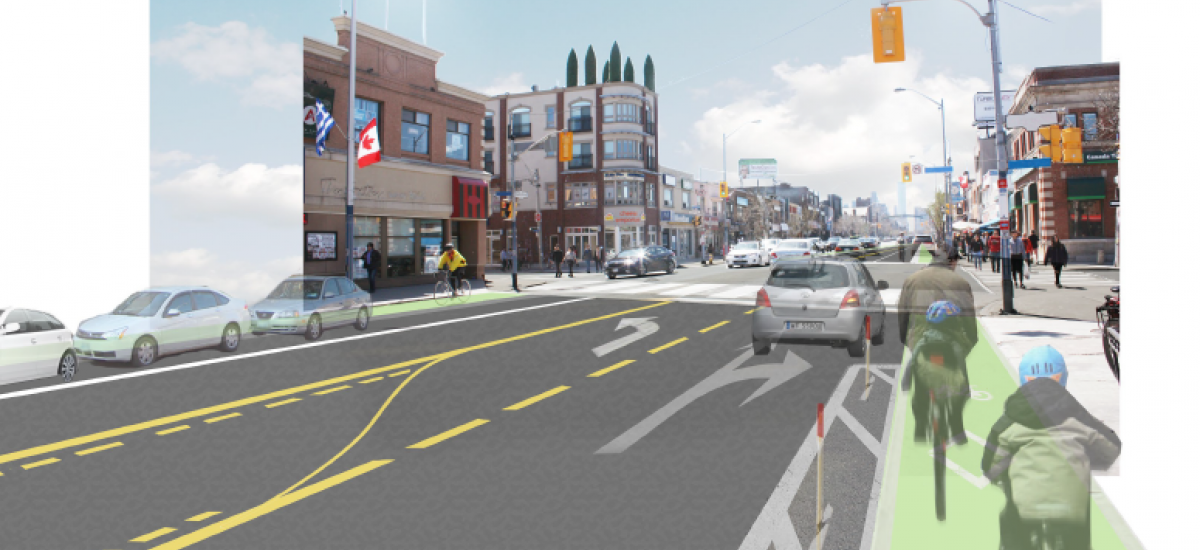 Rendering of a possible street configuration with bike lanes on Danforth Ave