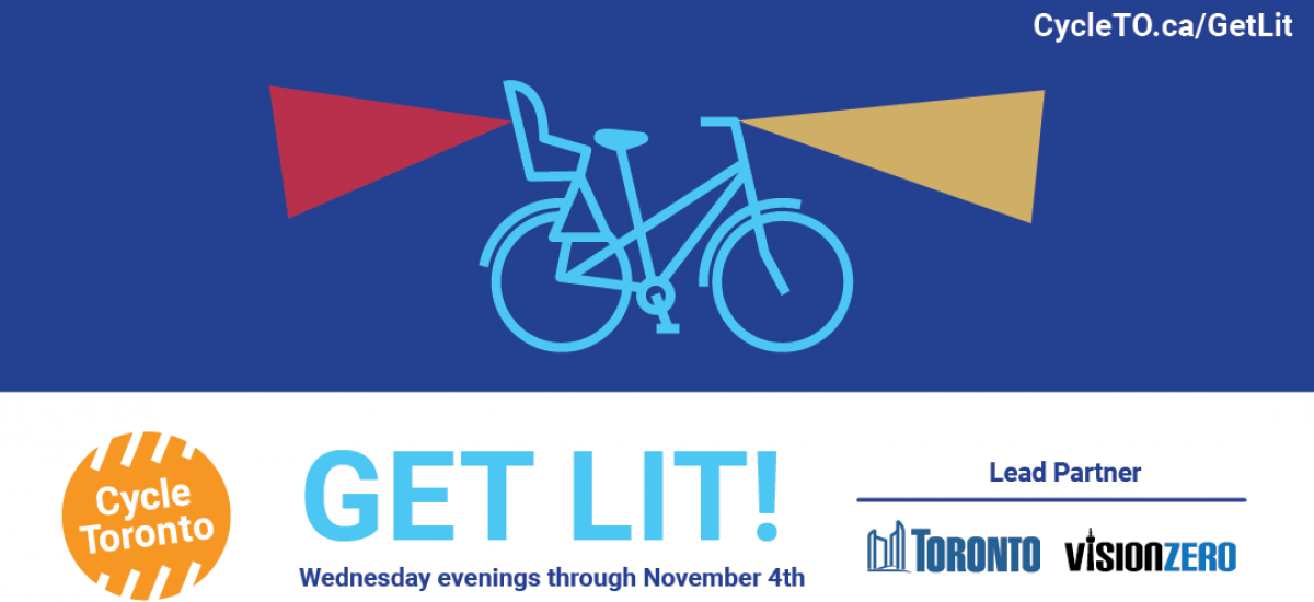 Get Lit! Wednesdays in October. Outlines of bikes on a blue background. They have yellow lights on the front and red on the back.