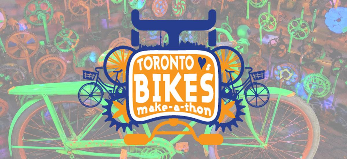 Toronto heart bikes make a thon logo superimposed on a neon collection of bikes and bike parts