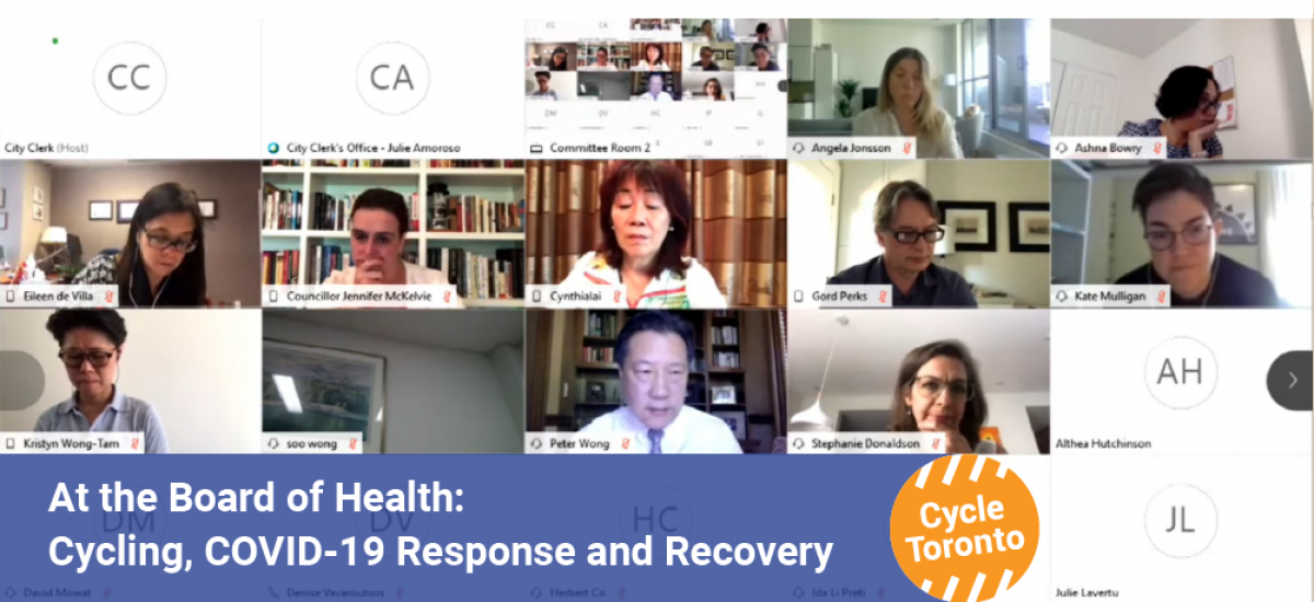 A virtual meeting is in the background. Title reads: At the Board of Health, Cycling, COVID-19 response and recovery