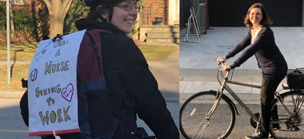 """Two images of the same women on a bike. One has a sign that says """"Just a nurse biking to work"""""""