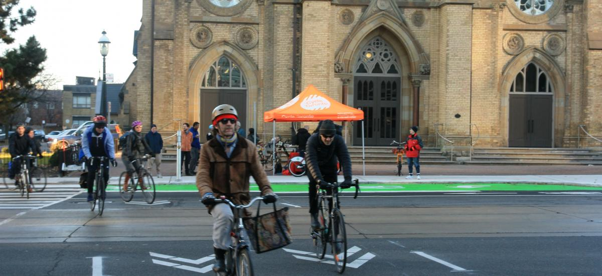 Cyclists crossing Bathurst Street