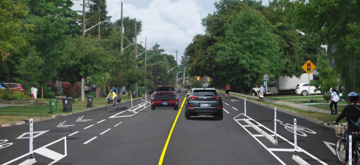 Road with protected bike lanes
