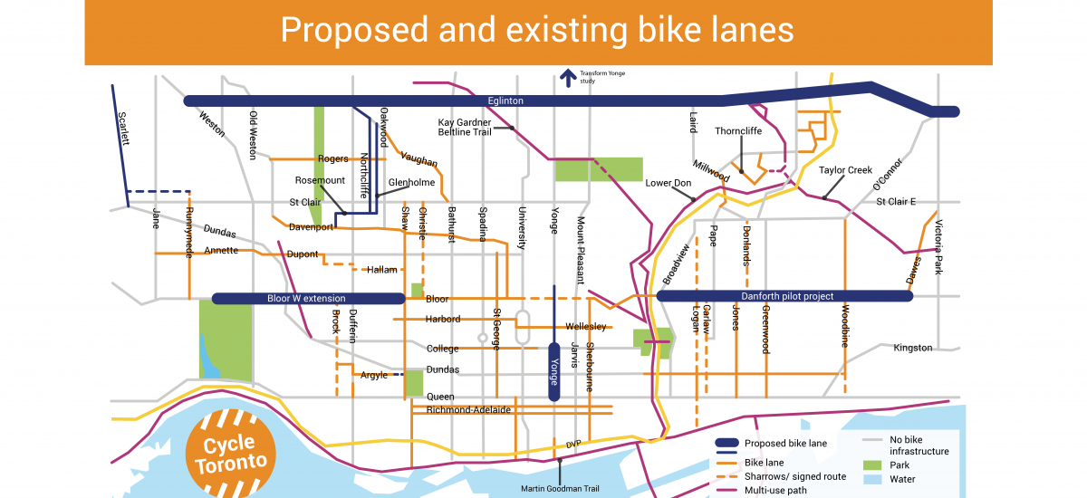 Proposed and Existing Bike Lanes