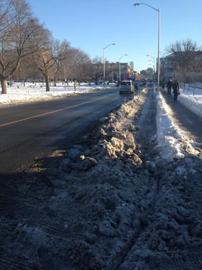Bloor Bike Lane snowed in at Christie