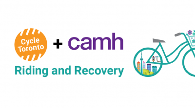 Cycle Toronto plus CAMH. Riding and Recovery. A rendered green bike is directed toward the right. Toronto's skyline is in the rear wheel.